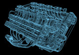 Car engine x-ray blue transparent isolated on black