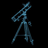 Astronomical telescope x-ray blue transparent isolated on black