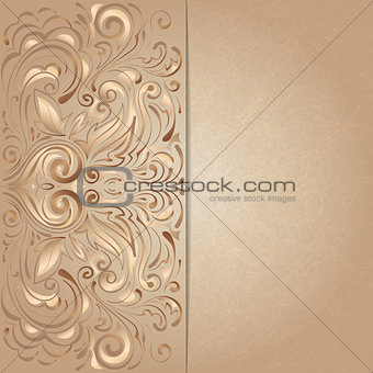 background for invitation with brown floral pattern