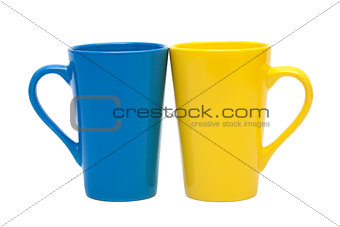 yellow and blue mug