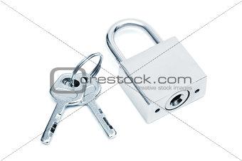 modern padlock with keys