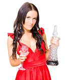 Winery Woman With Red Wine Glass And Decanter