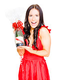 Woman Celebrating Success With Champagne Bottle