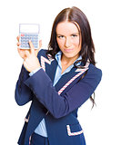 Accountant Pointing To Calculator With Copyspace