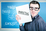 Marketing man displaying business plan for success