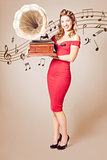 Pin-up at the disco. Vintage woman with gramophone