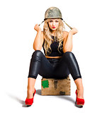 Pretty female pin up soldier on white background