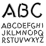 Hand drawing alphabet illustration set in black ink