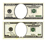 Hundred and fifty dollars bills on white background.