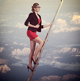business woman climbing