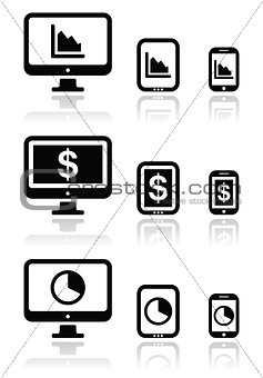 Business, chart on computer, tablet, smartphone vector icons set