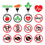 Vegan, no meat, vegetarian, lactose free icons set