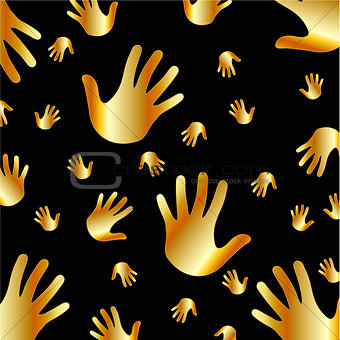 Background with golden hands