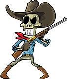Cartoon skeleton cowboy with a gun