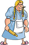 Cartoon angry woman with rolling pin