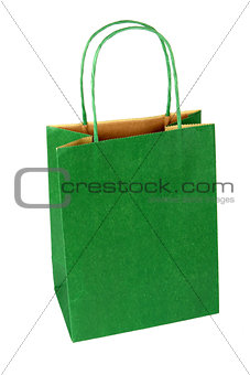 Green Gift Bag on White