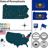 Map of state Pennsylvania, USA