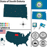 Map of state South Dakota, USA