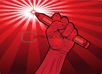 Fist holding a pencil with a fiery point