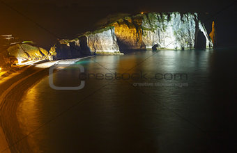 Natural cliff in Etretat, France. Night scene.