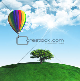 3D landscape with tree and hot air balloon
