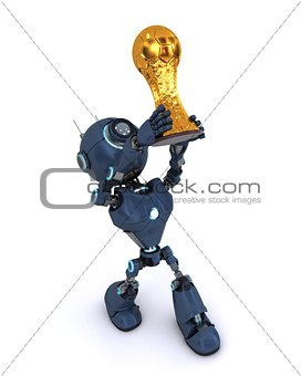 Android lifting football trophy