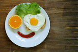 funny face serving breakfast, fried egg, toast and green salad