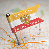 Odessa People's Republic Small Flag on a Map Background.