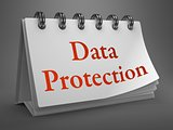 Data Protection -Red Words on Desktop Calendar.