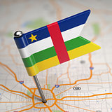 Central African Republic Small Flag on a Map.