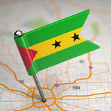 Sao Tome and Principe Small Flag on a Map.