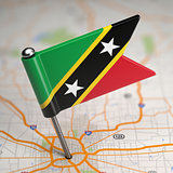 Saint Kitts and Nevis Small Flag on a Map.