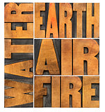 water, earth, air and fire