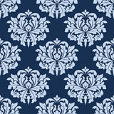 Blue seamless damask pattern