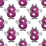 Cute happy waving number 8 seamless pattern