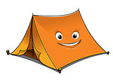 Cheerful cartoon orange tent