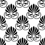 Pretty black fan shaped floral motif seamless pattern