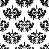 Damask style arabesque pattern with a floral motif