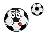 Cute cartoon soccer ball with a protruding tongue