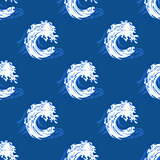 Seamless background pattern of a curling wave
