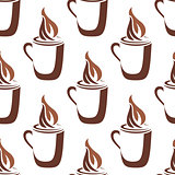 Seamless pattern of a mug of steaming hot coffee