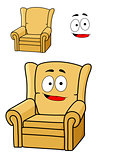 Comfortable cartoon yellow upholstered armchair