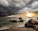 Thunderstorm over sea