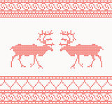 Red knitted pattern with deer