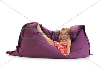 little girl posing on beanbag