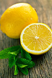 half lemon and fresh mint