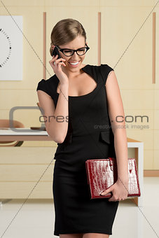 business girl talking and smiling