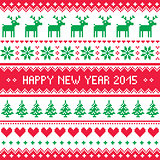 Happy New Year 2015 - Scandinavian winter embroidery pattern