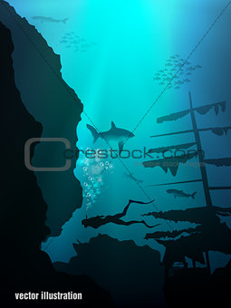 Beautiful coral reef and silhouettes of diver and school of fish in a blue sea