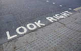 Look Right at a pedestrian crossing
